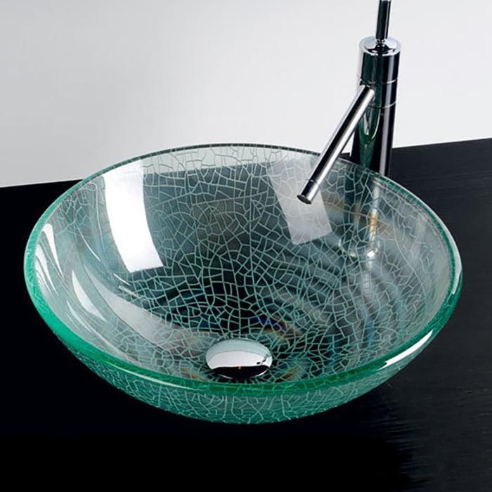 Przezroczysta umywalka szklana nablatowa Włoska