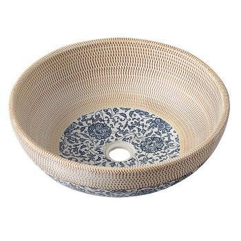 Ceramiczna umywalka nablatowa beżowa z niebieskimi wzorami