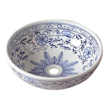 Biała umywalka nablatowa ceramiczna z niebieskim zdobieniem