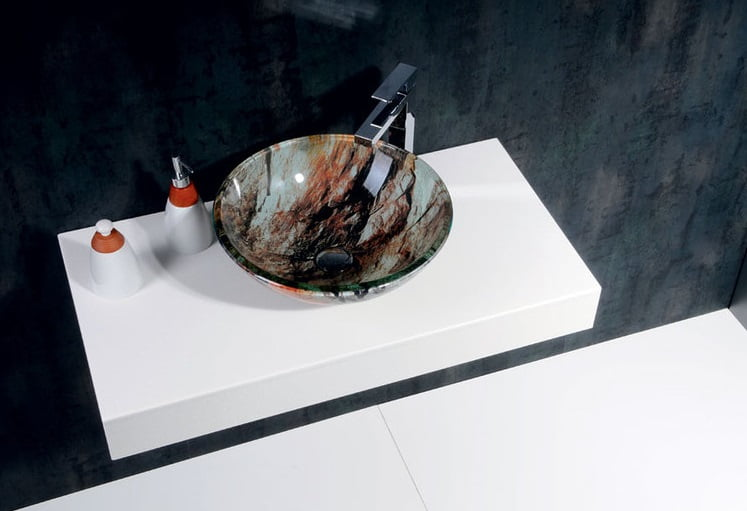 Umywalka nablatowa z Włoskiego szkła rock