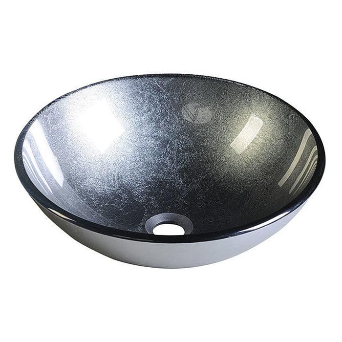 Szklana umywalka nablatowa metaliczna szara