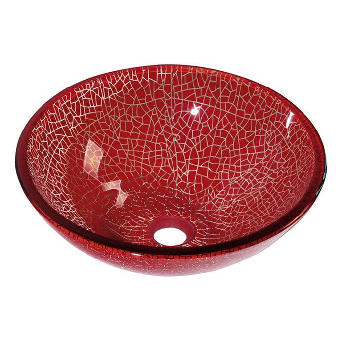 Włoska szklana umywalka nablatowa czerwona