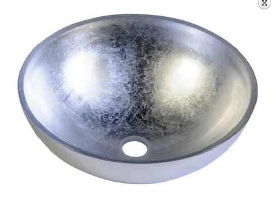 Srebrna umywalka szklana nablatowa