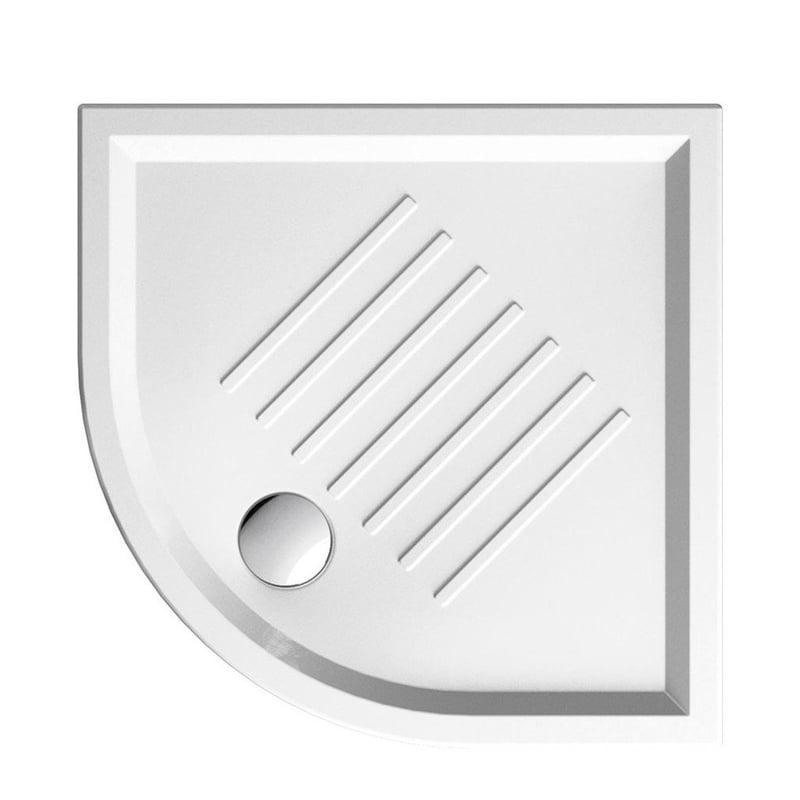 Biały Brodzik prysznicowy ceramiczny SLIM 90x90x6 cm, półokrągły