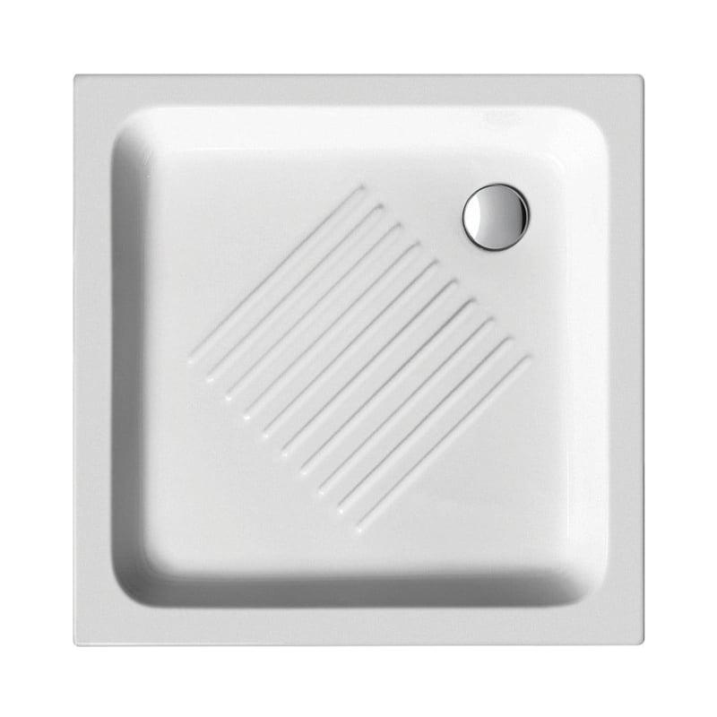 Biały brodzik prysznicowy ceramiczny 80x80x10 cm